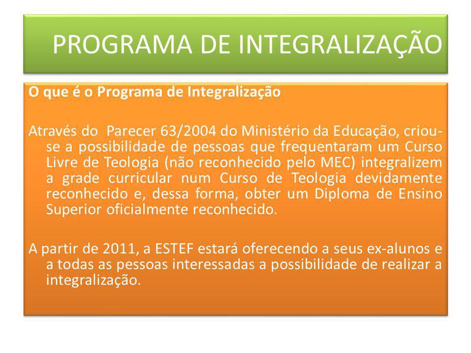 O que é o Programa de Integralização Através do Parecer 63/2004 do Ministério da Educação, criou- se a possibilidade de pessoas que frequentaram um Cu
