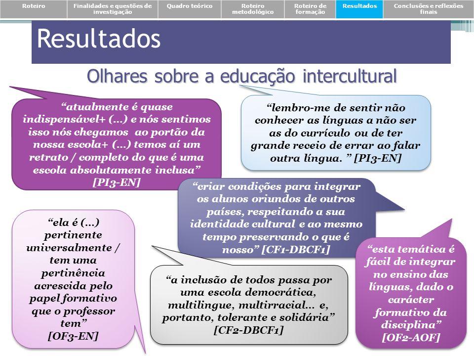 Resultados Olhares sobre a educação intercultural atualmente é quase indispensável+ (…) e nós sentimos isso nós chegamos ao portão da nossa escola+ (…