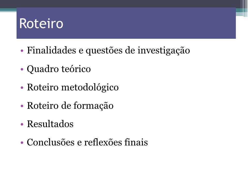 Roteiro Finalidades e questões de investigação Quadro teórico Roteiro metodológico Roteiro de formação Resultados Conclusões e reflexões finais