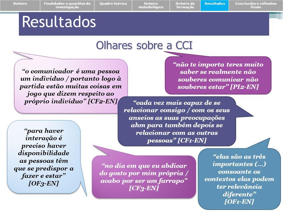 Resultados Olhares sobre a CCI o comunicador é uma pessoa um indivíduo / portanto logo à partida estão muitas coisas em jogo que dizem respeito ao pró