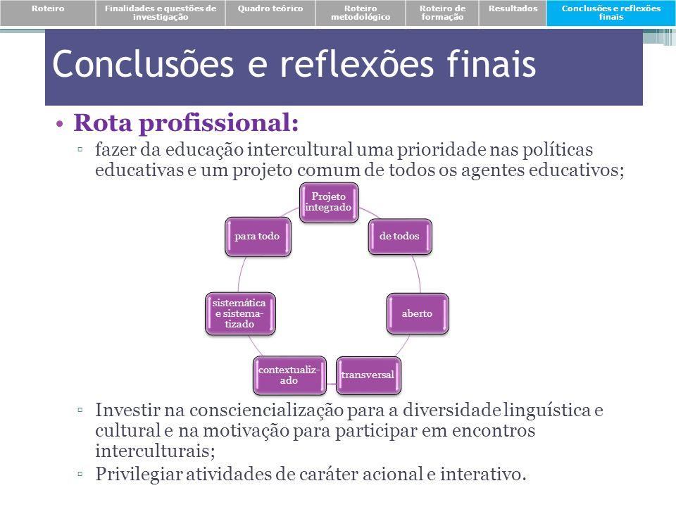 Rota profissional: fazer da educação intercultural uma prioridade nas políticas educativas e um projeto comum de todos os agentes educativos; Investir