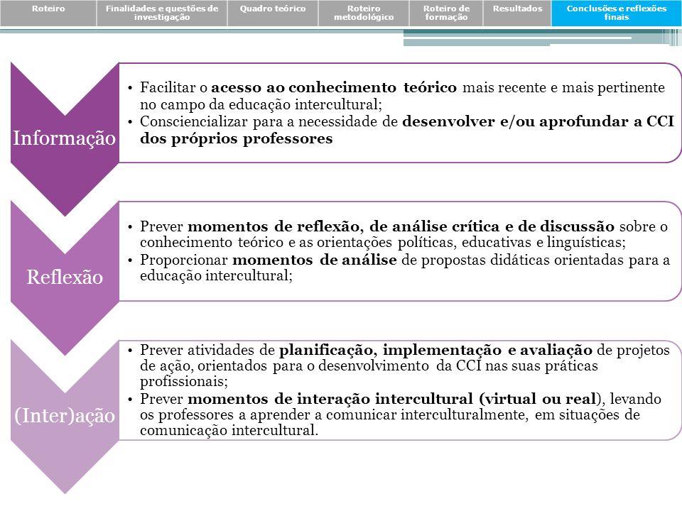 RoteiroFinalidades e questões de investigação Quadro teóricoRoteiro metodológico Roteiro de formação ResultadosConclusões e reflexões finais Informaçã