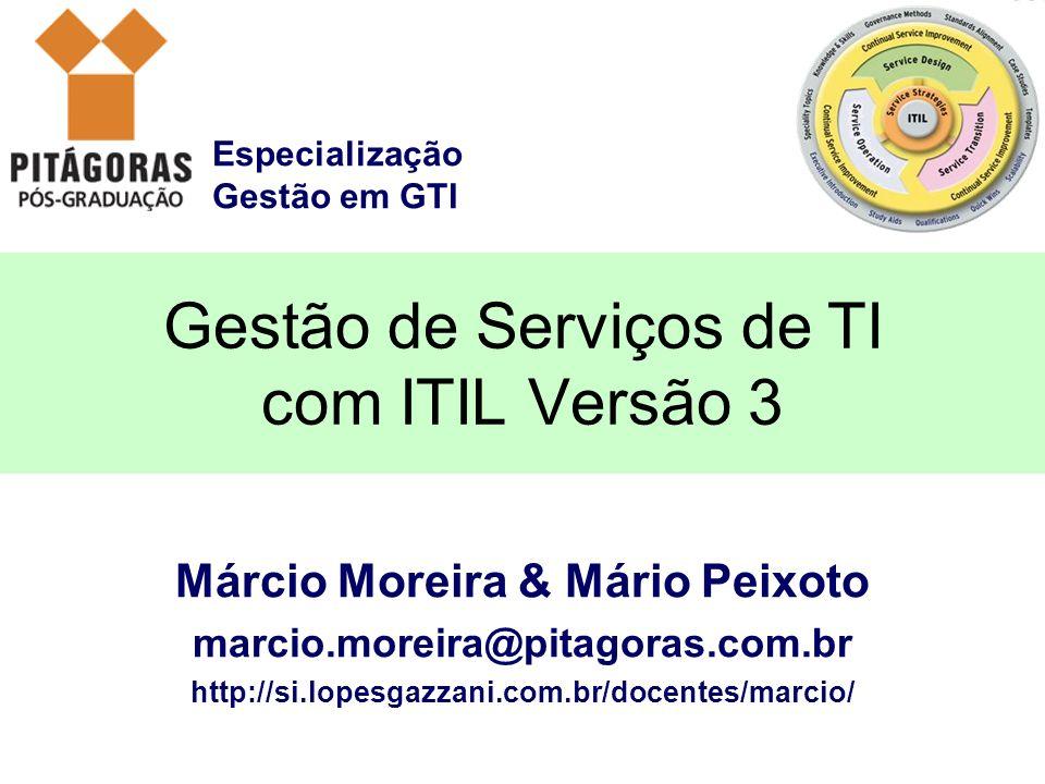 Especialização Gestão em GTI Márcio Moreira & Mário Peixoto marcio.moreira@pitagoras.com.br http://si.lopesgazzani.com.br/docentes/marcio/ Gestão de S