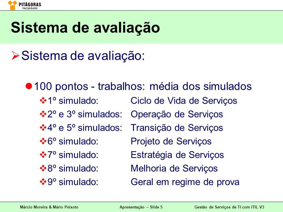 Márcio Moreira & Mário PeixotoApresentação – Slide 5Gestão de Serviços de TI com ITIL V3 Sistema de avaliação: 100 pontos - trabalhos: média dos simul