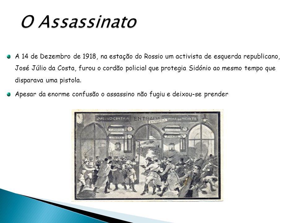 A 14 de Dezembro de 1918, na estação do Rossio um activista de esquerda republicano, José Júlio da Costa, furou o cordão policial que protegia Sidónio