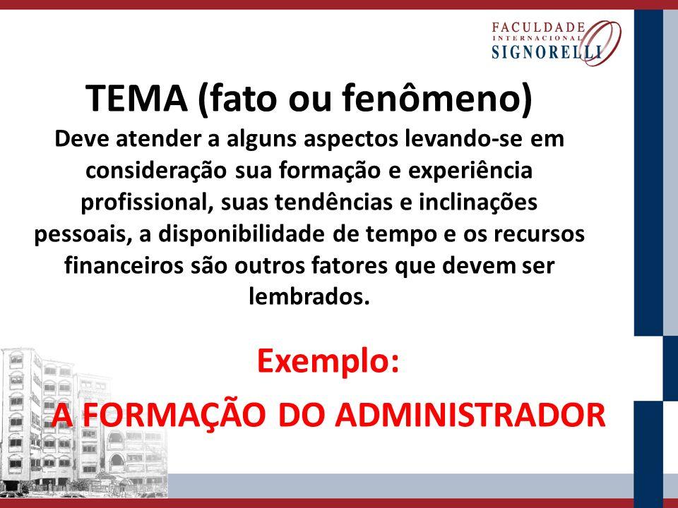 TEMA (fato ou fenômeno) Deve atender a alguns aspectos levando-se em consideração sua formação e experiência profissional, suas tendências e inclinaçõ