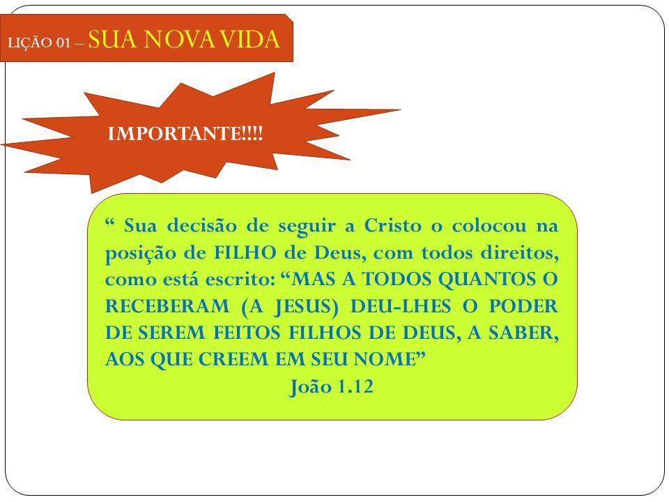 LIÇÃO 01 – SUA NOVA VIDA IMPORTANTE!!!! Sua decisão de seguir a Cristo o colocou na posição de FILHO de Deus, com todos direitos, como está escrito: M