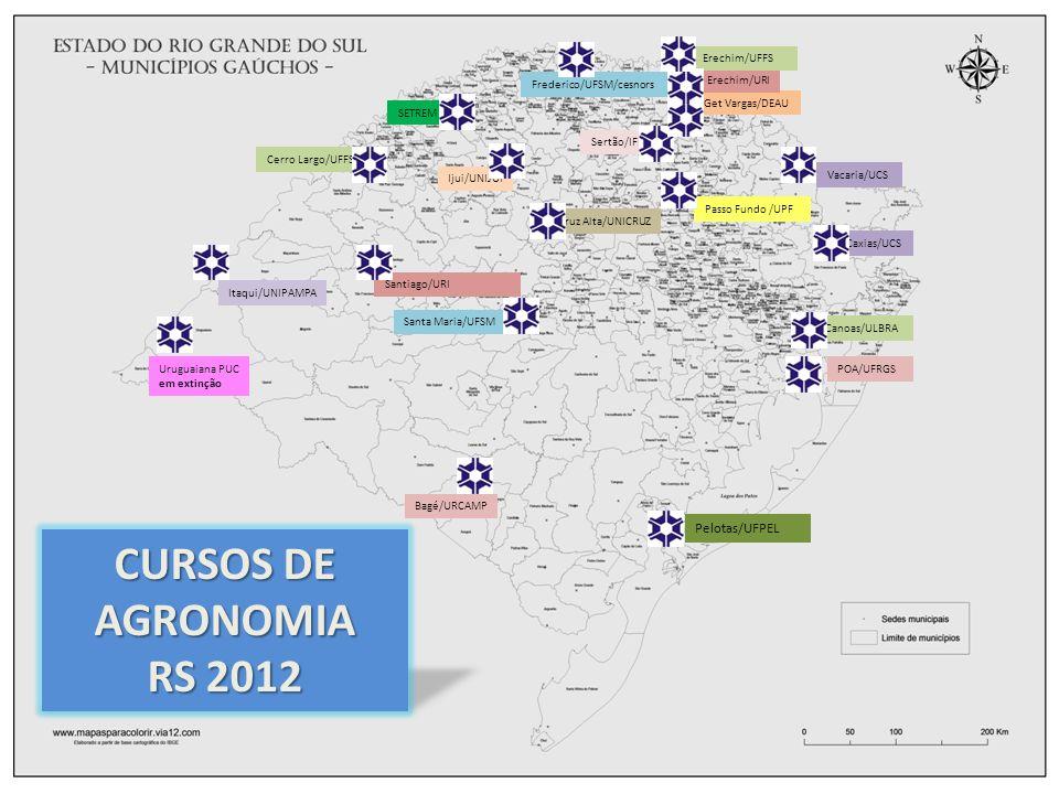Caxias/UCS Canoas/ULBRA POA/UFRGS Get Vargas/DEAU Erechim/URI Pelotas/UFPEL Sertão/IFET SETREM Ijui/UNIJUI Cruz Alta/UNICRUZ Santa Maria/UFSM Itaqui/UNIPAMPA Bagé/URCAMP Vacaria/UCS Passo Fundo /UPF Uruguaiana PUC em extinção Frederico/UFSM/cesnors Erechim/UFFS CURSOS DE AGRONOMIA RS 2012 Cerro Largo/UFFS Santiago/URI