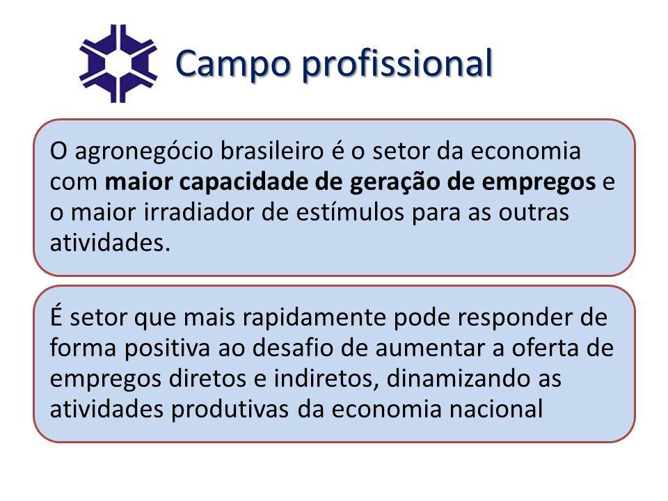 Campo profissional O agronegócio brasileiro é o setor da economia com maior capacidade de geração de empregos e o maior irradiador de estímulos para a