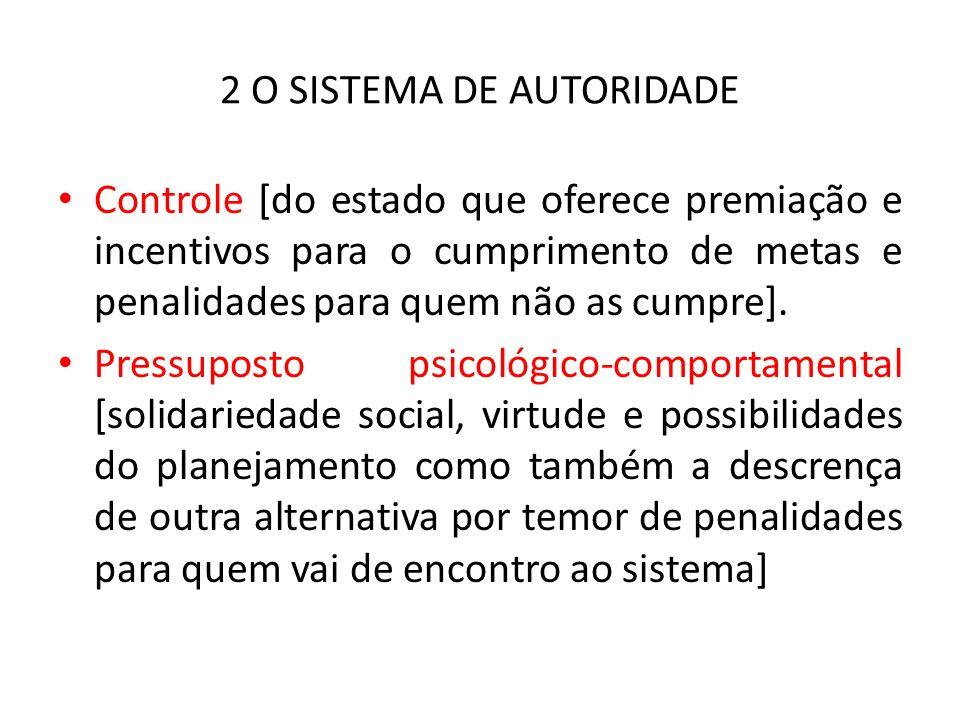 2 O SISTEMA DE AUTORIDADE Controle [do estado que oferece premiação e incentivos para o cumprimento de metas e penalidades para quem não as cumpre].