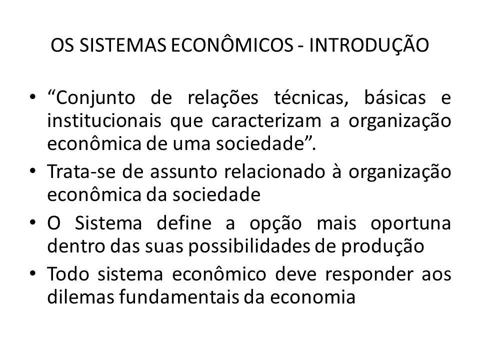 OS SISTEMAS ECONÔMICOS - INTRODUÇÃO Conjunto de relações técnicas, básicas e institucionais que caracterizam a organização econômica de uma sociedade.