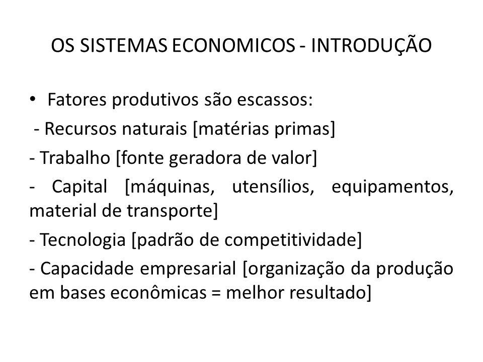 OS SISTEMAS ECONOMICOS - INTRODUÇÃO Fatores produtivos são escassos: - Recursos naturais [matérias primas] - Trabalho [fonte geradora de valor] - Capital [máquinas, utensílios, equipamentos, material de transporte] - Tecnologia [padrão de competitividade] - Capacidade empresarial [organização da produção em bases econômicas = melhor resultado]