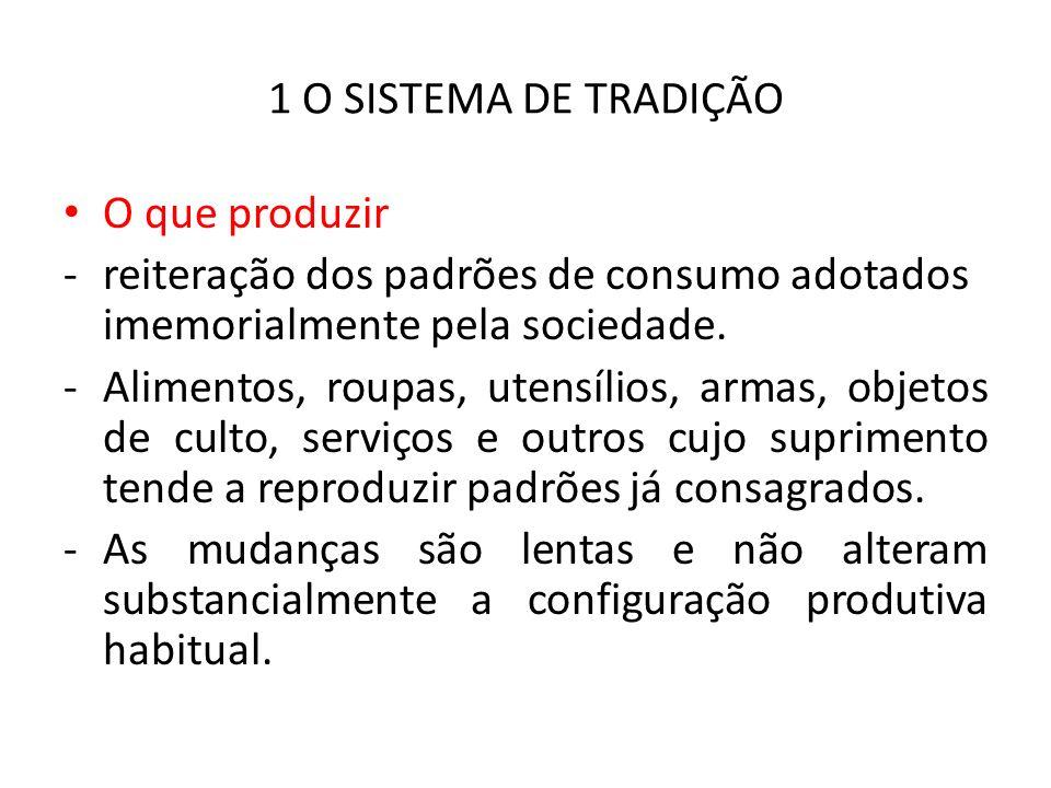 1 O SISTEMA DE TRADIÇÃO O que produzir -reiteração dos padrões de consumo adotados imemorialmente pela sociedade.