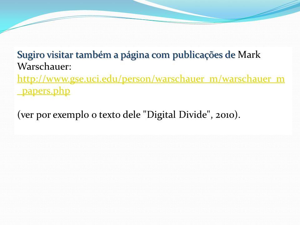 Sugiro visitar também a página com publicações de Sugiro visitar também a página com publicações de Mark Warschauer: http://www.gse.uci.edu/person/war