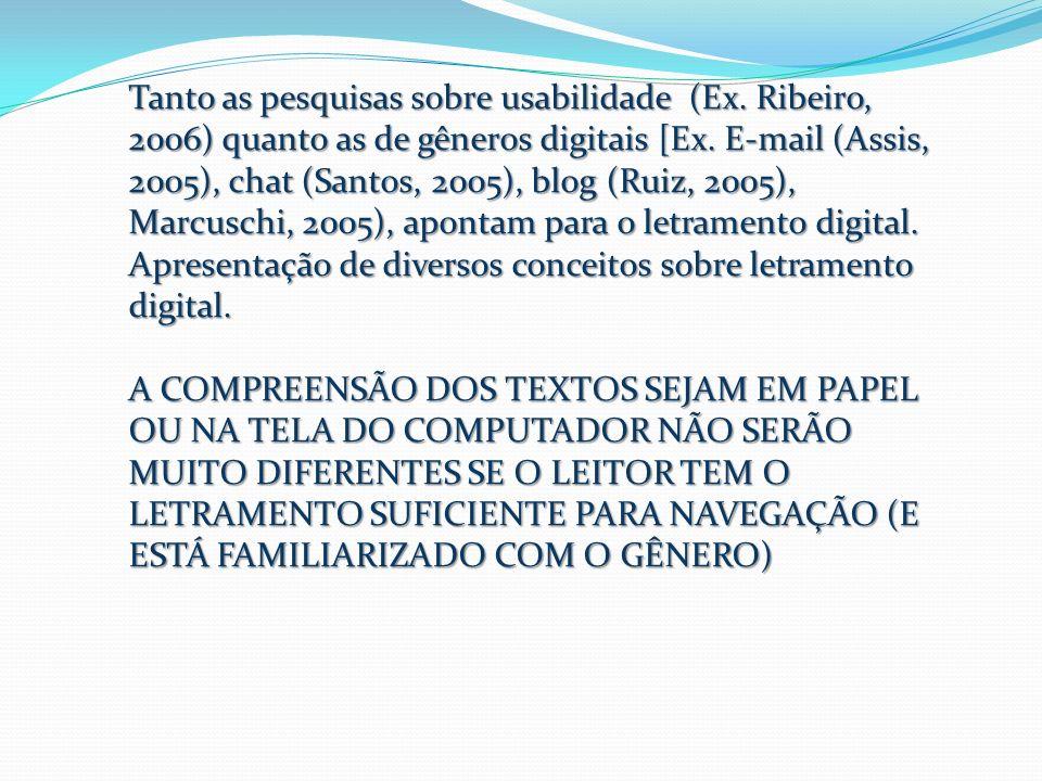 Tanto as pesquisas sobre usabilidade (Ex. Ribeiro, 2006) quanto as de gêneros digitais [Ex. E-mail (Assis, 2005), chat (Santos, 2005), blog (Ruiz, 200