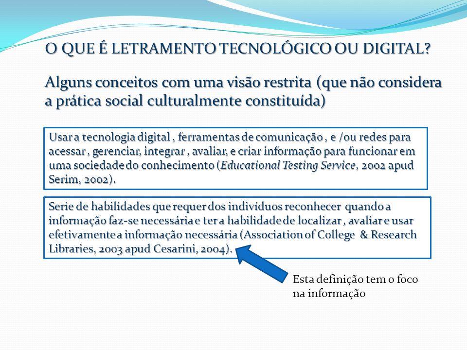 O QUE É LETRAMENTO TECNOLÓGICO OU DIGITAL? Alguns conceitos com uma visão restrita (que não considera a prática social culturalmente constituída) Esta