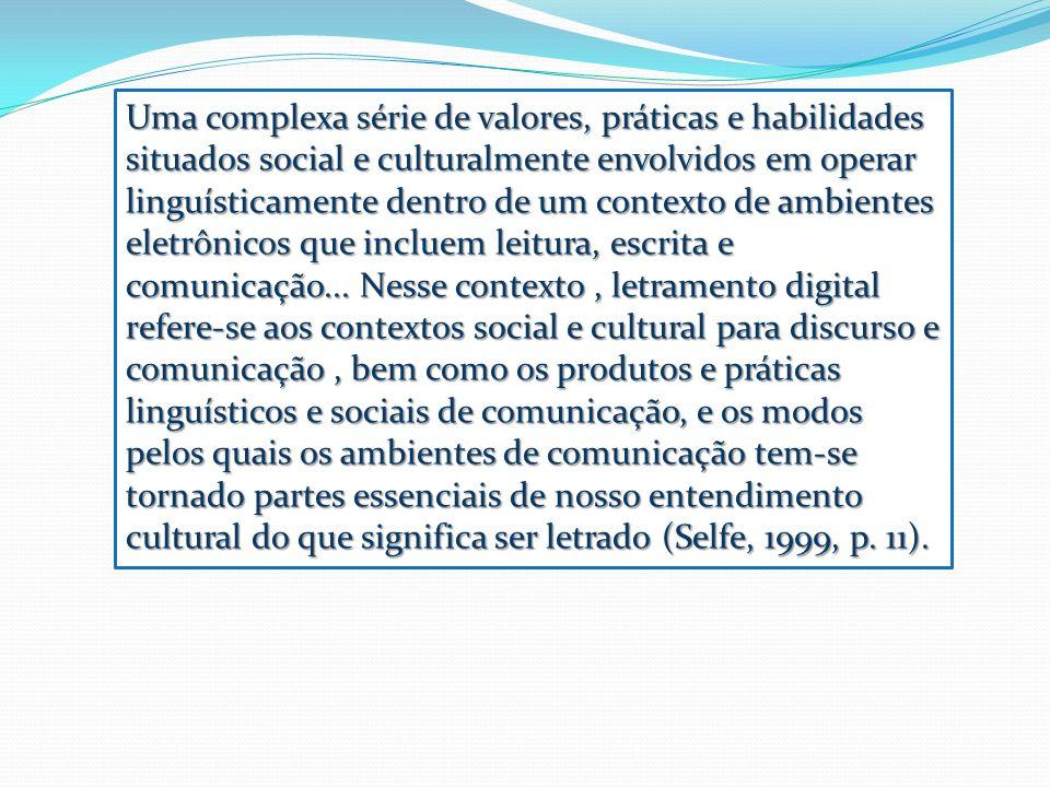 Uma complexa série de valores, práticas e habilidades situados social e culturalmente envolvidos em operar linguísticamente dentro de um contexto de a