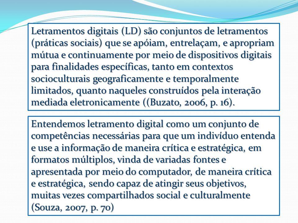 Entendemos letramento digital como um conjunto de competências necessárias para que um indivíduo entenda e use a informação de maneira crítica e estra