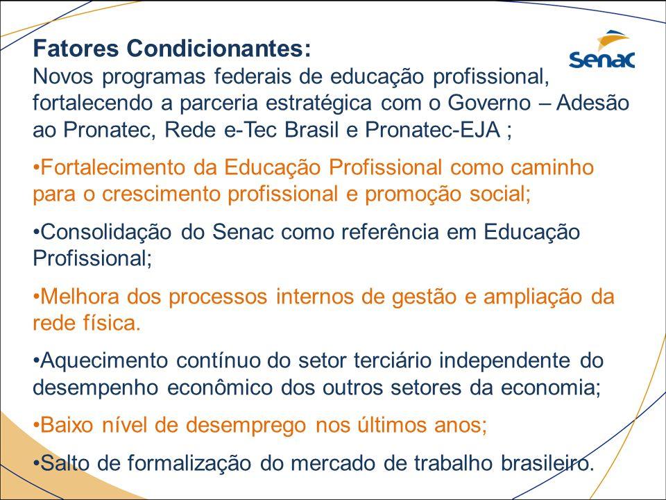 Fatores Condicionantes: Novos programas federais de educação profissional, fortalecendo a parceria estratégica com o Governo – Adesão ao Pronatec, Red