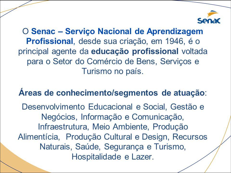 O Senac – Serviço Nacional de Aprendizagem Profissional, desde sua criação, em 1946, é o principal agente da educação profissional voltada para o Seto