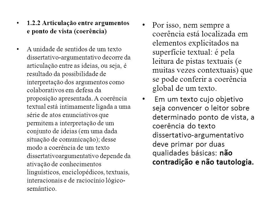 1.2.2 Articulação entre argumentos e ponto de vista (coerência) A unidade de sentidos de um texto dissertativo-argumentativo decorre da articulação en