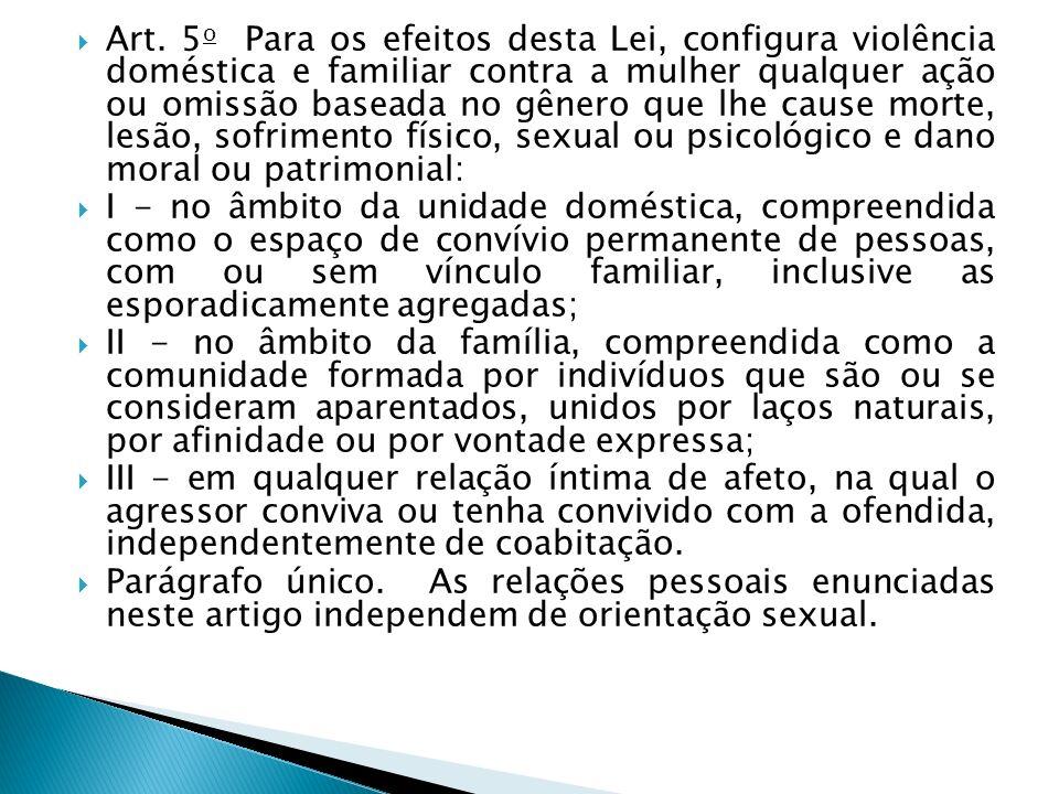Art. 5 o Para os efeitos desta Lei, configura violência doméstica e familiar contra a mulher qualquer ação ou omissão baseada no gênero que lhe cause