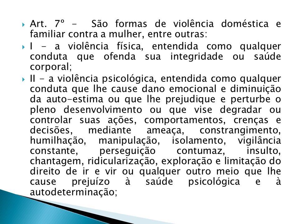 Art. 7º - São formas de violência doméstica e familiar contra a mulher, entre outras: I - a violência física, entendida como qualquer conduta que ofen
