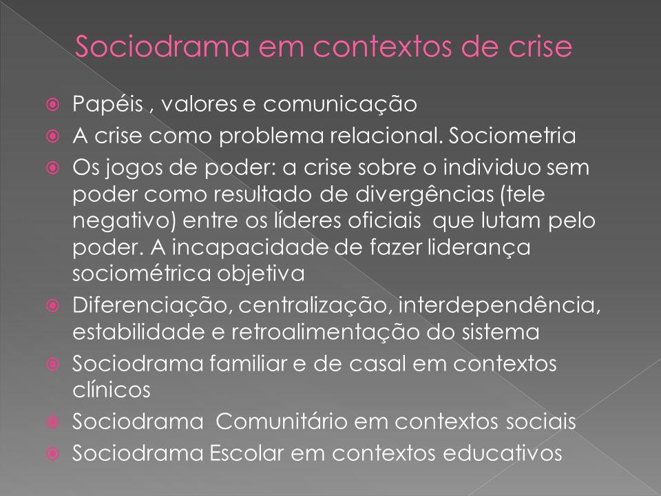 Papéis, valores e comunicação A crise como problema relacional. Sociometria Os jogos de poder: a crise sobre o individuo sem poder como resultado de d