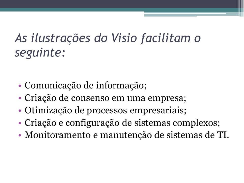 As ilustrações do Visio facilitam o seguinte: Comunicação de informação; Criação de consenso em uma empresa; Otimização de processos empresariais; Cri