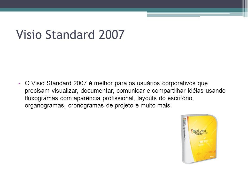 Visio Standard 2007 O Visio Standard 2007 é melhor para os usuários corporativos que precisam visualizar, documentar, comunicar e compartilhar idéias