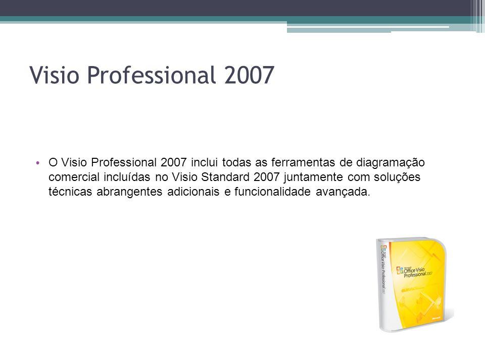 Visio Professional 2007 O Visio Professional 2007 inclui todas as ferramentas de diagramação comercial incluídas no Visio Standard 2007 juntamente com