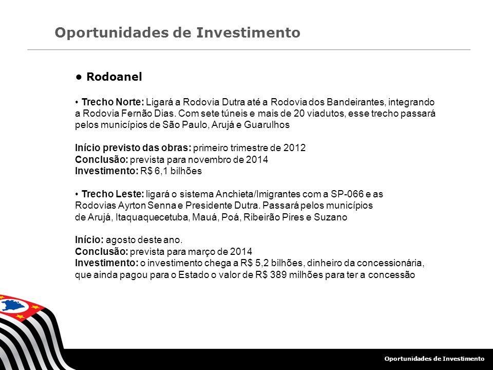 Oportunidades de Investimento Rodoanel Trecho Norte: Ligará a Rodovia Dutra até a Rodovia dos Bandeirantes, integrando a Rodovia Fernão Dias. Com sete