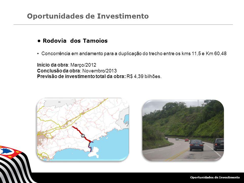 Oportunidades de Investimento Rodovia dos Tamoios Concorrência em andamento para a duplicação do trecho entre os kms 11,5 e Km 60,48 Início da obra: M