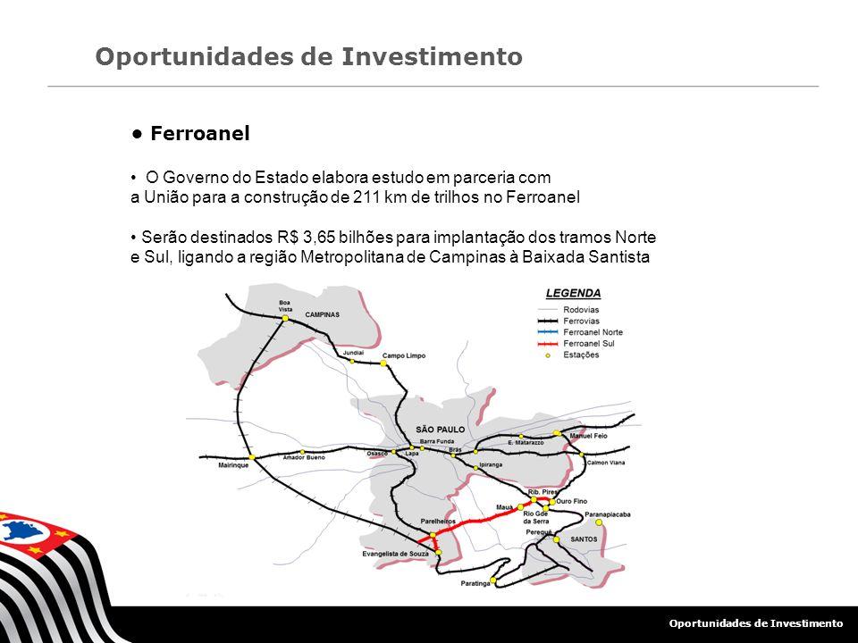 Ferroanel O Governo do Estado elabora estudo em parceria com a União para a construção de 211 km de trilhos no Ferroanel Serão destinados R$ 3,65 bilh