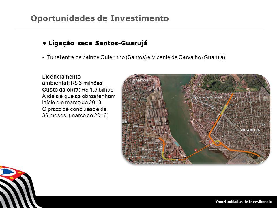 Ligação seca Santos-Guarujá Túnel entre os bairros Outerinho (Santos) e Vicente de Carvalho (Guarujá). Licenciamento ambiental: R$ 3 milhões Custo da