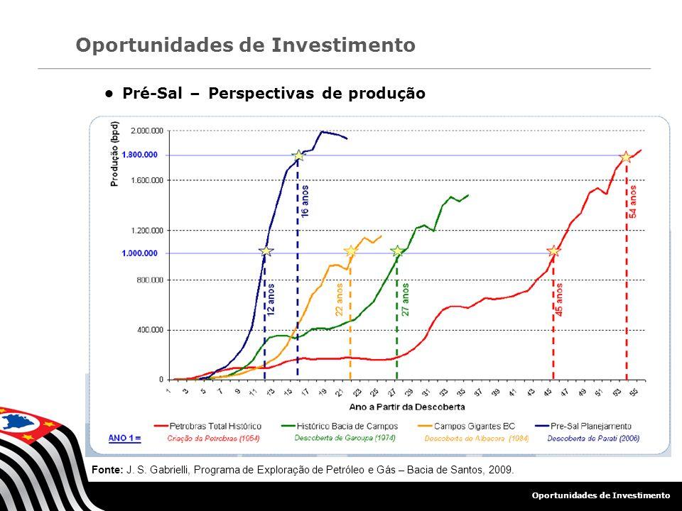 Pré-Sal – Perspectivas de produção Fonte: J. S. Gabrielli, Programa de Exploração de Petróleo e Gás – Bacia de Santos, 2009. Oportunidades de Investim