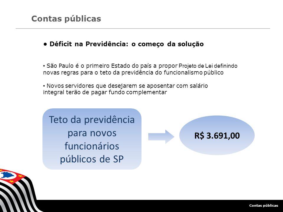 Déficit na Previdência: o começo da solução São Paulo é o primeiro Estado do país a propor Projeto de Lei definindo novas regras para o teto da previd