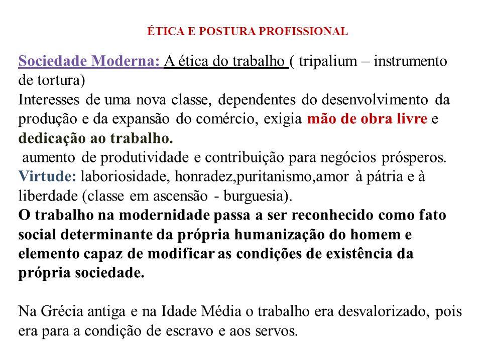 Sociedade Moderna: A ética do trabalho ( tripalium – instrumento de tortura) Interesses de uma nova classe, dependentes do desenvolvimento da produção