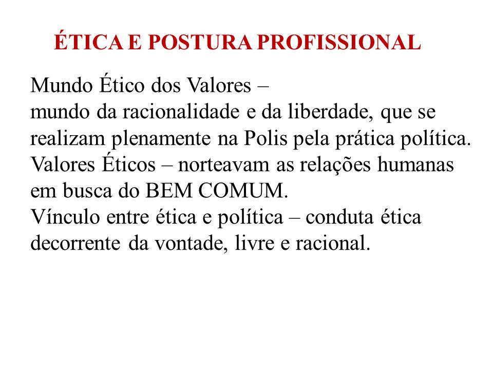 Mundo Ético dos Valores – mundo da racionalidade e da liberdade, que se realizam plenamente na Polis pela prática política. Valores Éticos – norteavam