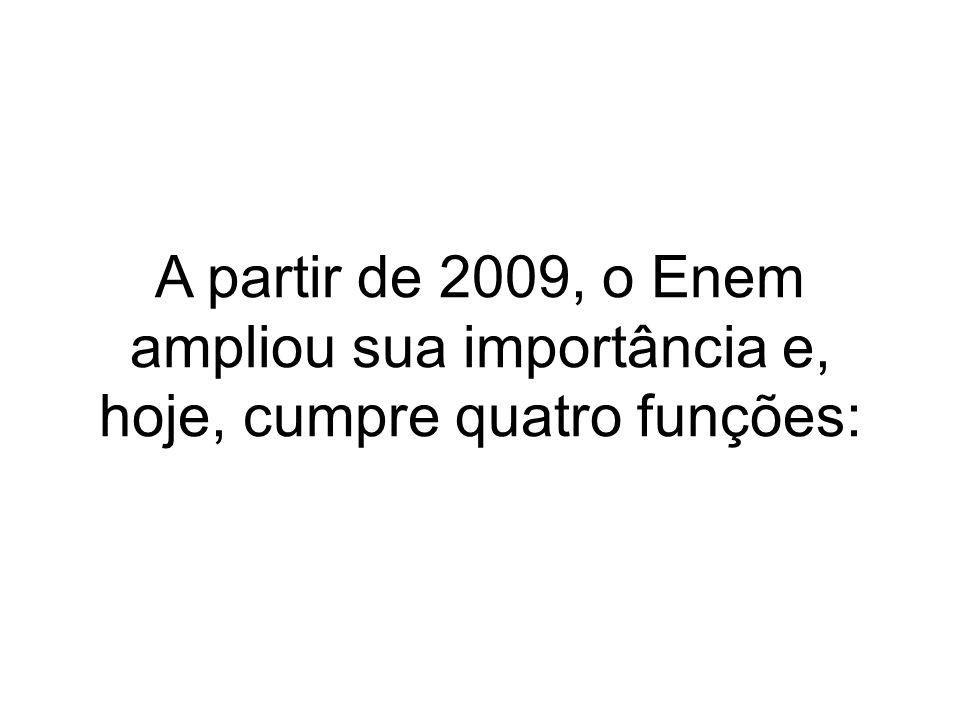 Em 2010, a participação do Enem passou a ser obrigatória também para a solicitação do Fundo de Financiamento ao Estudante do Ensino Superior (Fies).