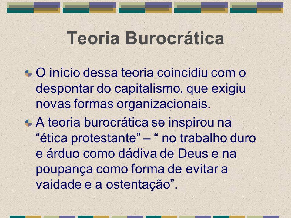 Teoria Burocrática O início dessa teoria coincidiu com o despontar do capitalismo, que exigiu novas formas organizacionais. A teoria burocrática se in