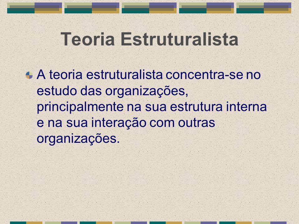 Teoria Estruturalista A teoria estruturalista concentra-se no estudo das organizações, principalmente na sua estrutura interna e na sua interação com