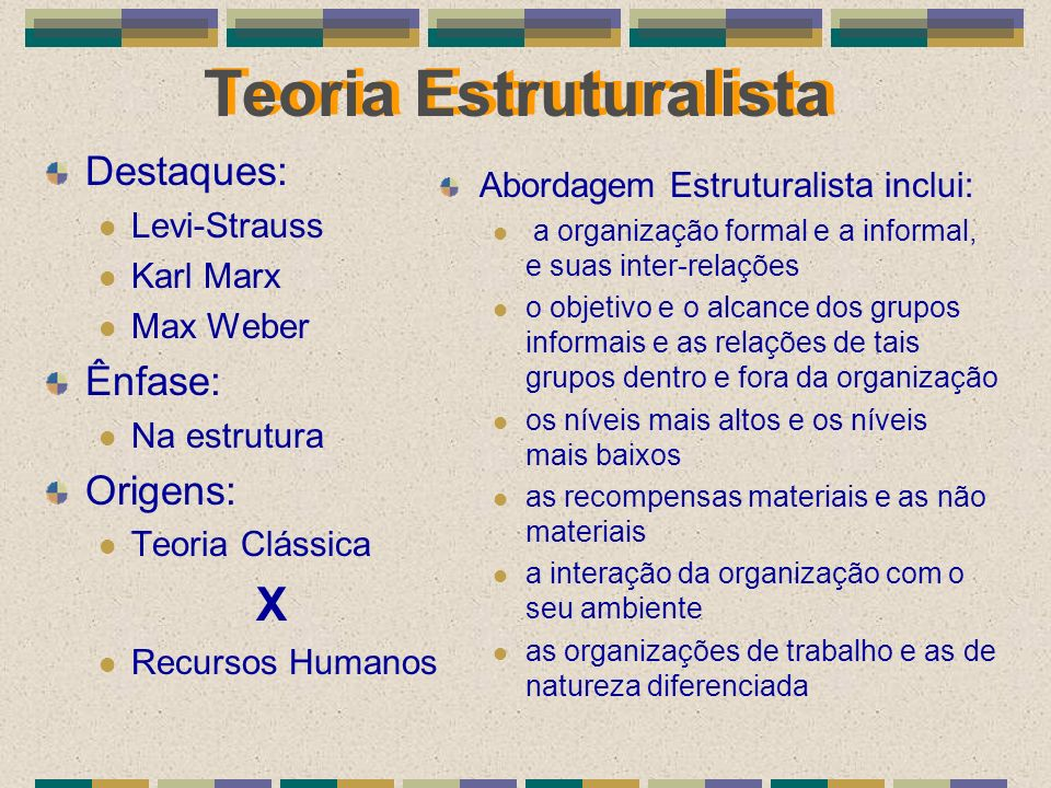 Teoria Estruturalista Destaques: Levi-Strauss Karl Marx Max Weber Ênfase: Na estrutura Origens: Teoria Clássica X Recursos Humanos Abordagem Estrutura