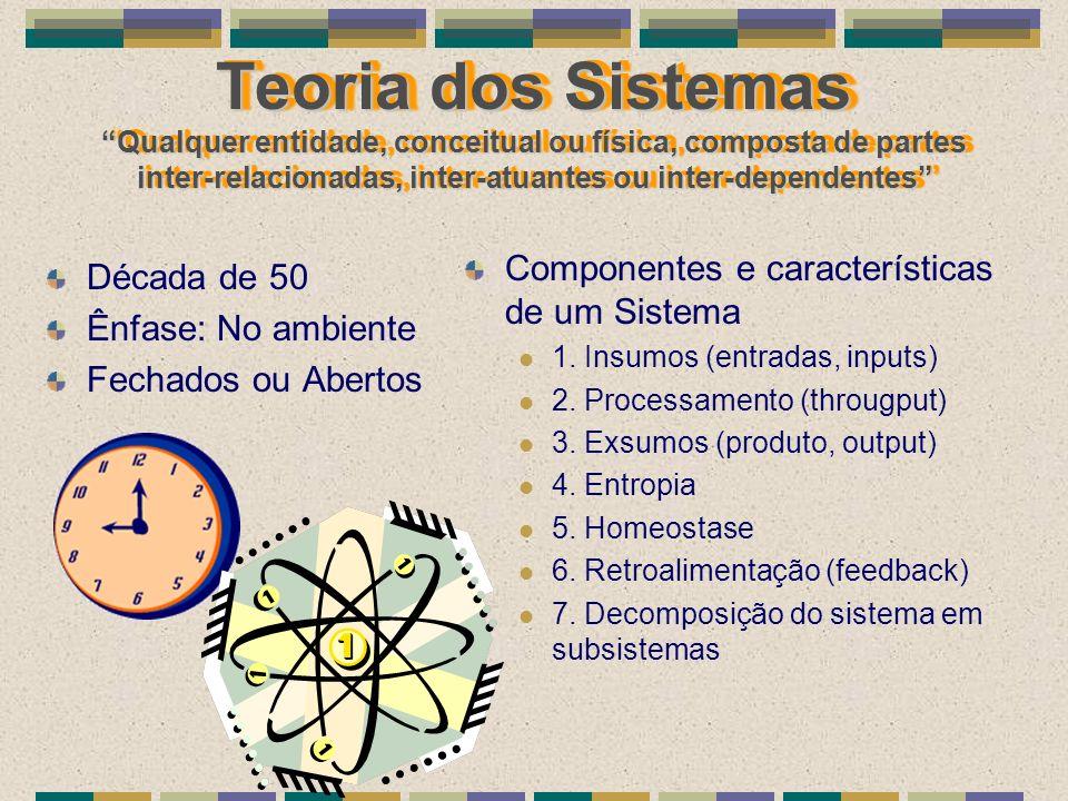 Teoria dos Sistemas Qualquer entidade, conceitual ou física, composta de partes inter-relacionadas, inter-atuantes ou inter-dependentes Década de 50 Ê