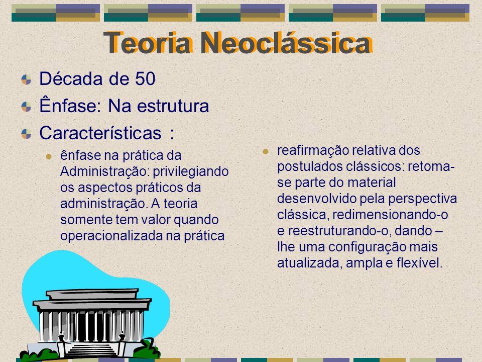 Teoria Neoclássica Década de 50 Ênfase: Na estrutura Características : ênfase na prática da Administração: privilegiando os aspectos práticos da admin