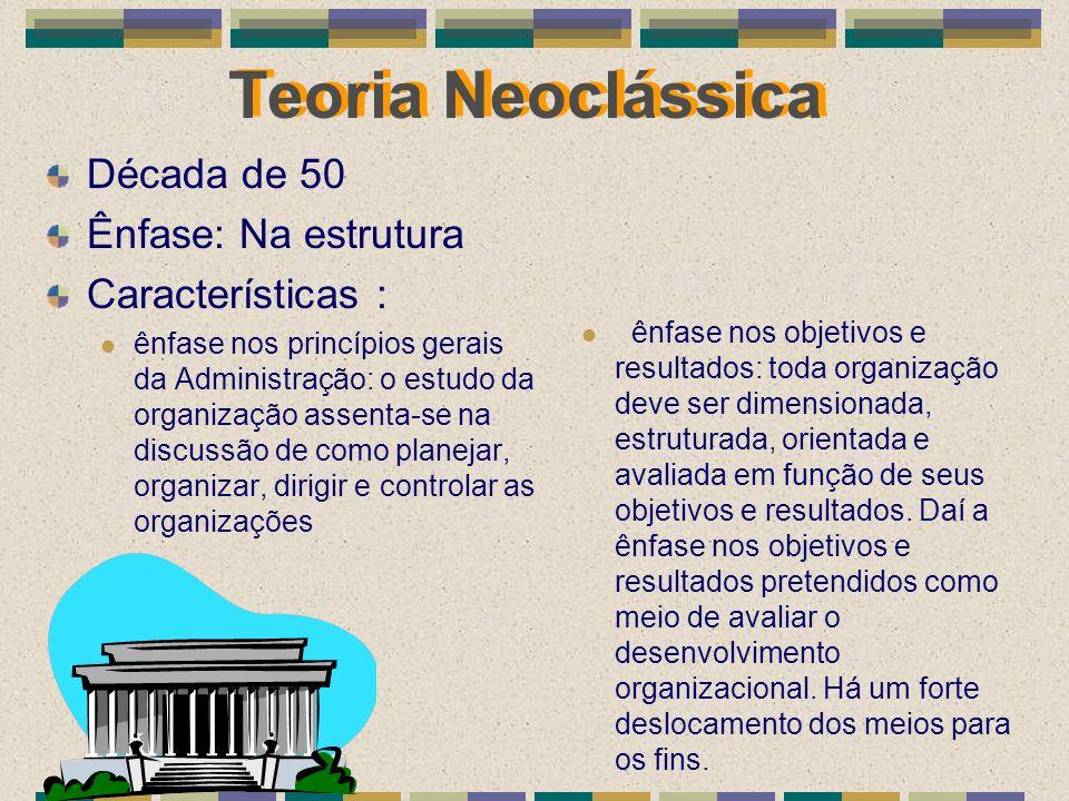 Teoria Neoclássica Década de 50 Ênfase: Na estrutura Características : ênfase nos princípios gerais da Administração: o estudo da organização assenta-