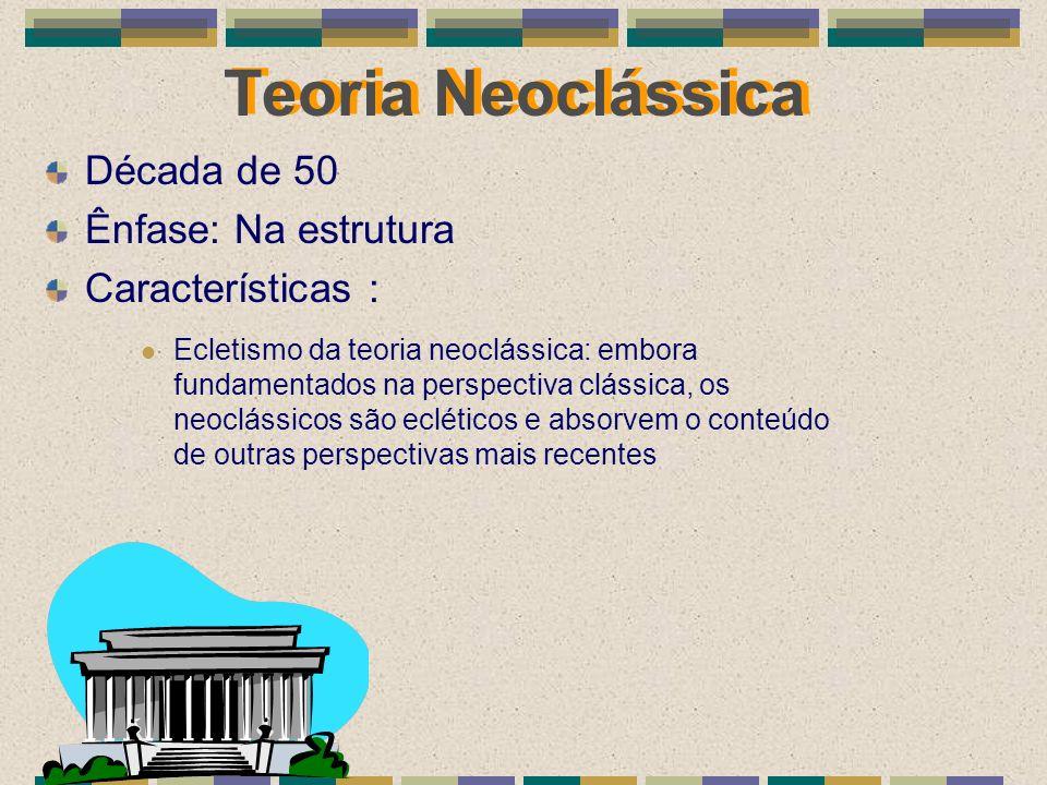 Teoria Neoclássica Década de 50 Ênfase: Na estrutura Características : Ecletismo da teoria neoclássica: embora fundamentados na perspectiva clássica,