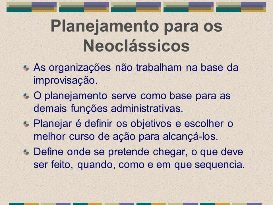 Planejamento para os Neoclássicos As organizações não trabalham na base da improvisação. O planejamento serve como base para as demais funções adminis