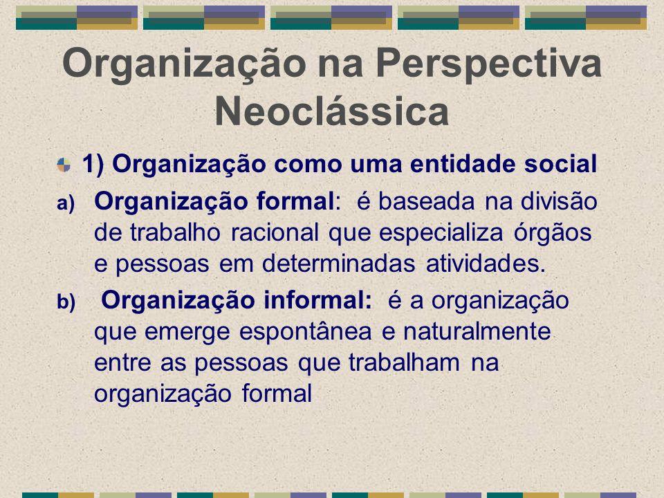 Organização na Perspectiva Neoclássica 1) Organização como uma entidade social a) Organização formal: é baseada na divisão de trabalho racional que es