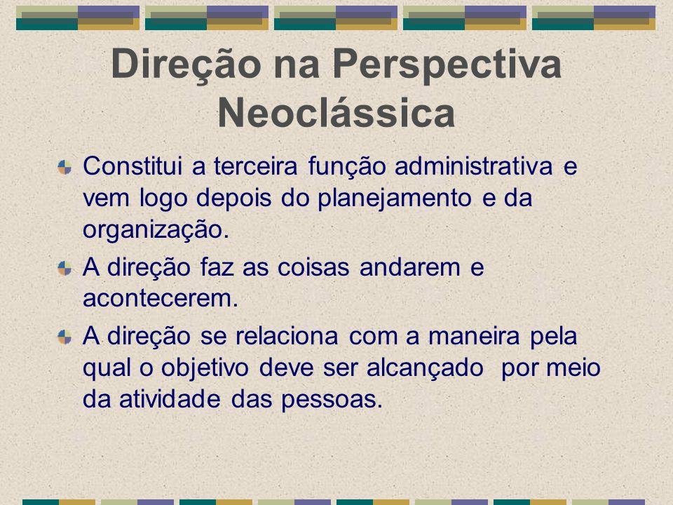 Direção na Perspectiva Neoclássica Constitui a terceira função administrativa e vem logo depois do planejamento e da organização. A direção faz as coi